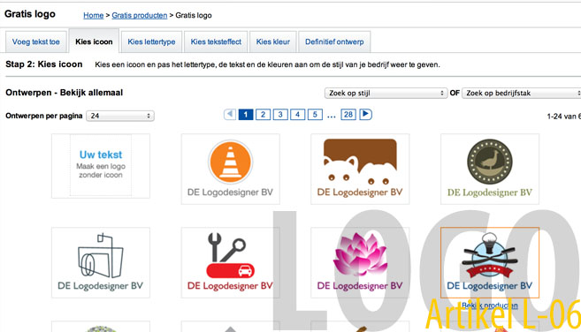 Een typische 'design'-zelf-een-logo-tool (screenshot: vistaprint.nl)